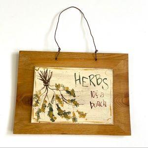 Vintage handmade floral herb painted wood sign
